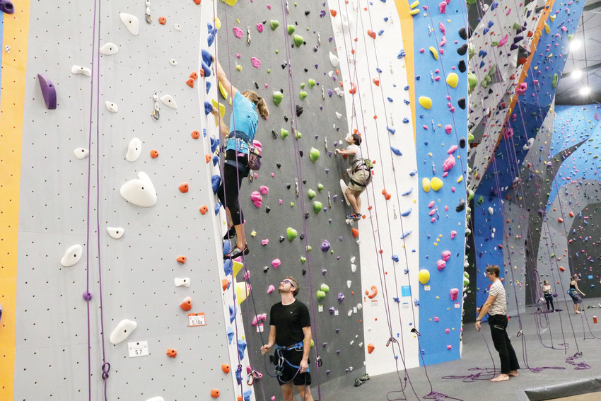 Climbers test their skills on the walls at Earth Treks, 1050 W. Hampden Ave.
