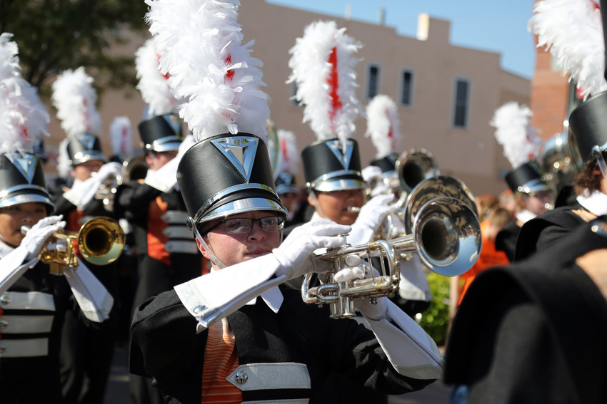 The Lakewood High School band was one of many Denver metro area bands to walk the Saturday morning parade.