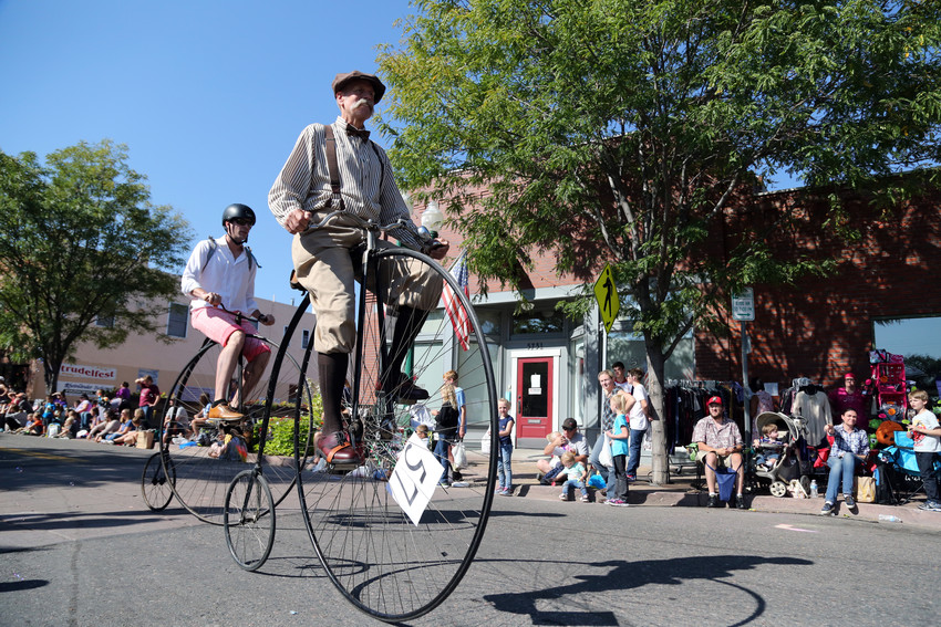 Paul Brekus and a group of pennyfarthers brought parade goers back to the 1880s with their bicycles.