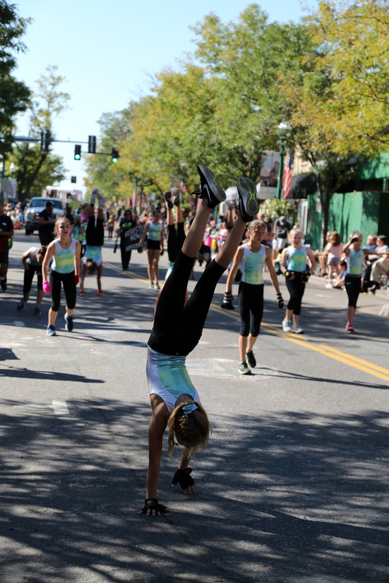 Members of Apex Gymnastics strutted their stuff down Old Wadsworth during the parade.