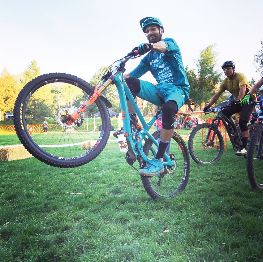Chris Heath plays around on a mountain bike at last year's Golden Giddyup mountain bike race and expo. The race begins at 8 a.m. this year and the expo takes place from 10 a.m. to 6 p.m. Sept. 16 at Lions Park, 1300 10th St., in Golden.