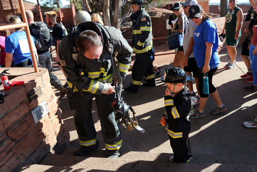 The next generation of firefighters also joined the climb.