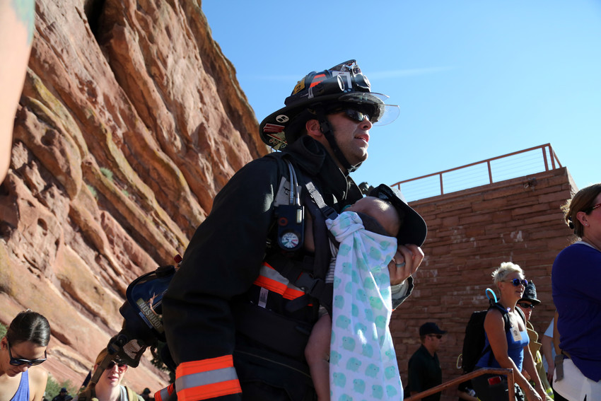 Each participant pays tribute by climbing the equivalent of the 110 stories of the World Trade Center. At Red Rocks, participants complete nine laps around the amphitheater.