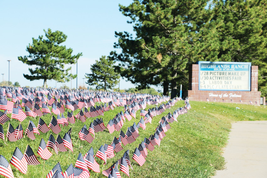 Thousands of American flags line a grassy field near Highlands Ranch High School on Sept. 11. Every year, a group of students places the flags to honor the lives lost in the Sept. 11, 2001 attacks.