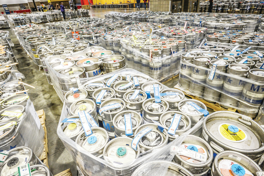 Kegs of craft beer fill the Colorado Convention Center prior to the Great American Beer Festival. This year's three-day event is expected to have more than 62,000 people.