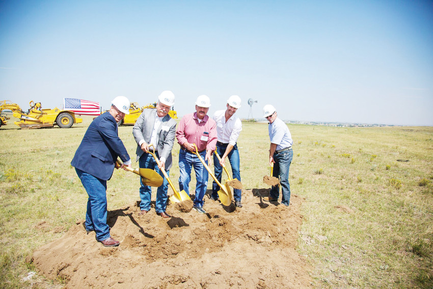 Elbert County commissioners staff turn the first shovels of dirt during the groundbreaking ceremony for the Independence community in Elbert County at Hilltop Road/County Road 158 and County Road 5. (L-R), Commissioner Chris Richardson, County Manager Sam Albrecht, Commissioner Grant Thayer, Tim Craft Principal, Craft Companies, and Commissioner Danny Willcox.