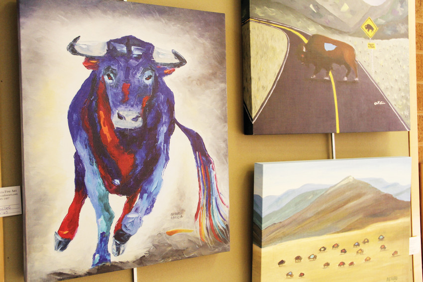 Artwork by Littleton-area artist Arturo Garcia on display Sept. 13 at Goodson Recreation Center in Centennial. Garcia's collection aims to highlight the history and cultural value of buffalo in Native Americans' lives.