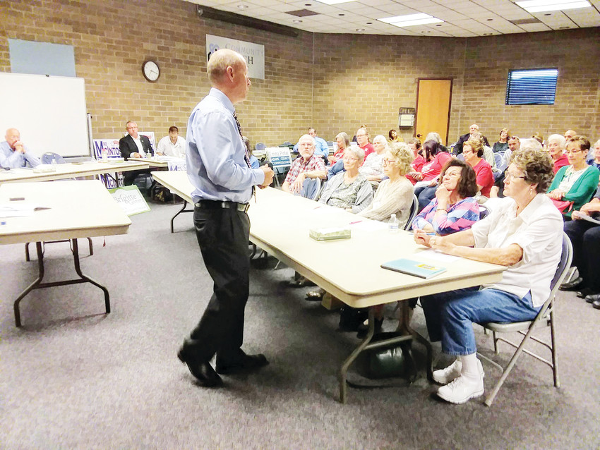 Adams County Clerk and Recorder Stan Martin, a Republican, introduces himself at a candidate meet-and-greet Sept. 13 in Northglenn. Martin is seeking reelection to his seat on the November ballot.