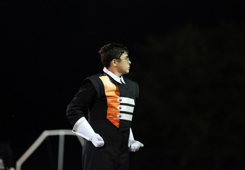 Drum major Matteo Selvaggio prepares to lead the Lakewood High School band Sept. 17.