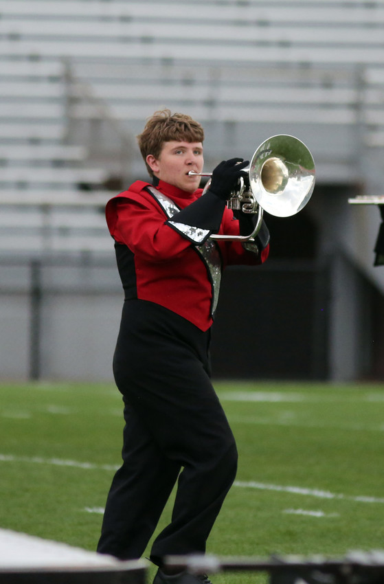 Clinton Eckenrod plays the mellophone with the Arvada High marching band.