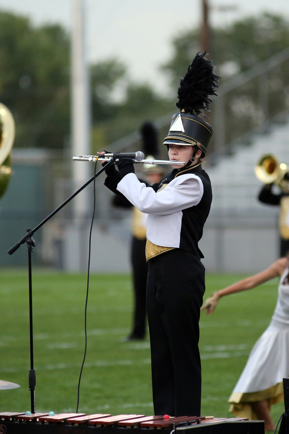 Summer Marquis performs a flute solo with the Green Mountain marching band.