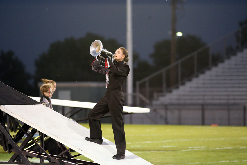Olivia Walt plays with the Pomona High marching band during their Sept. 17 performance.