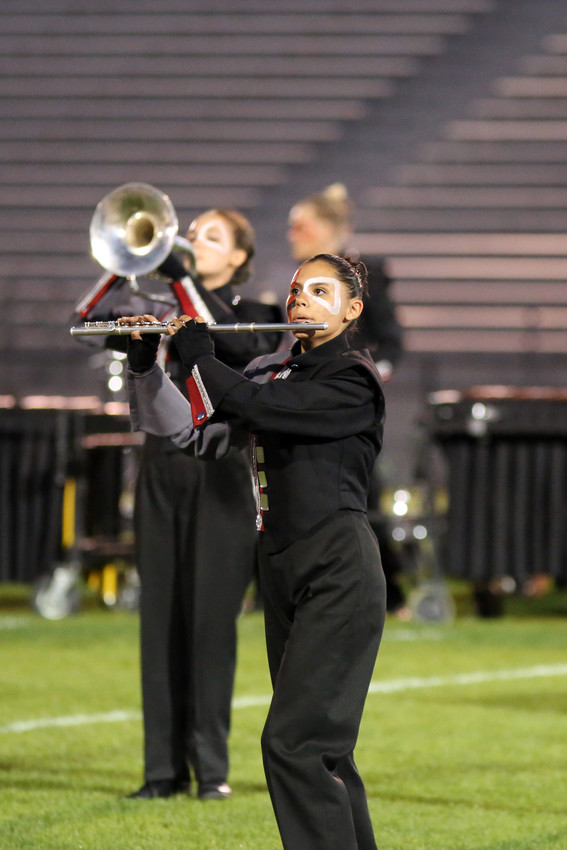 Kyishia Huerta plays flute with the Pomona High marching band.