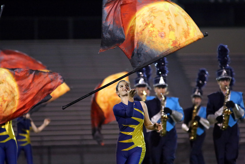 Kassie Spring performs plags with the Ralston Valley marching band. The title of the performance was The Planets.