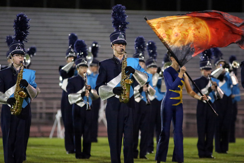 Aaron Bradley plays with the Ralston Valley marching band Sept. 17.
