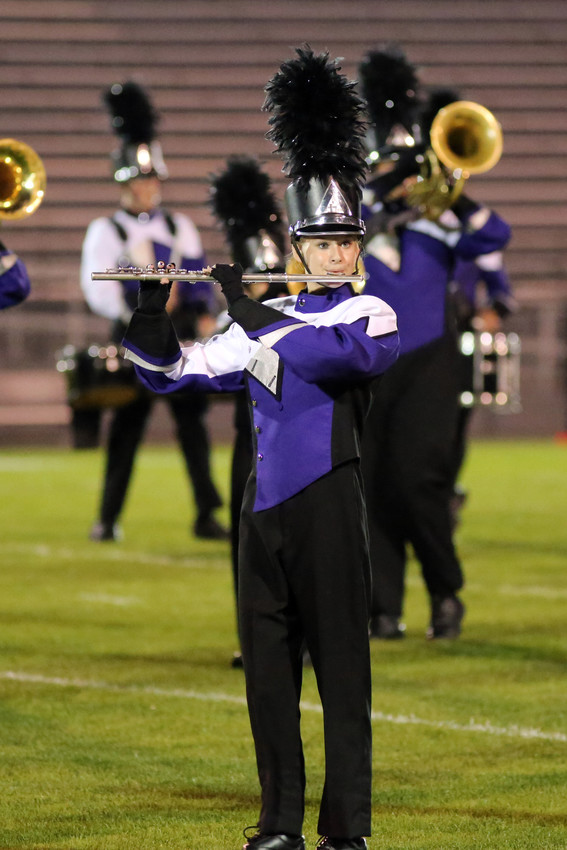 Alyssa Erskine plays with the Arvada West marching band.