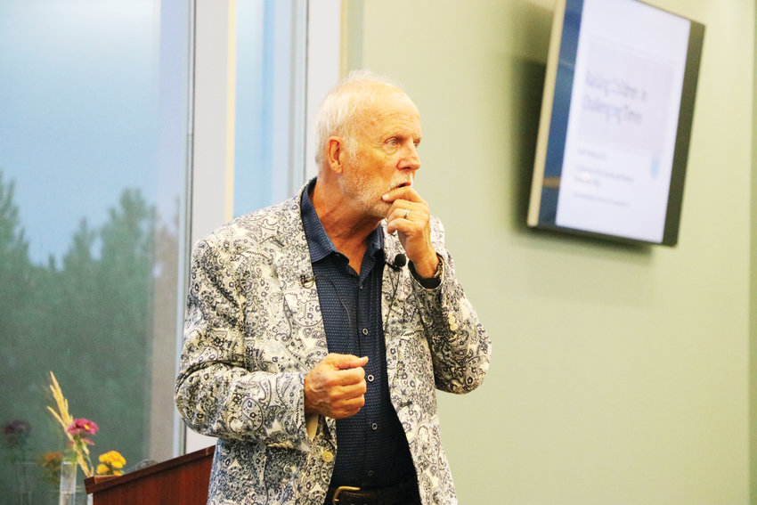 "School crisis expert Dr. Scott Poland talks to residents of the south metro Denver area about teen suicide prevention and parenting in the digital age at a Sept. 19 seminar in Centennial. ""The bottom line is, when your kid is your technology guru, we are already behind,"" Poland said."