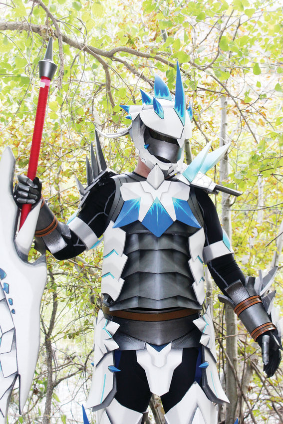 "Chris Clarke cosplays in the Altera Blademaster armor from the video game ""Monster Hunter: Frontier G."" His costume cost about $400 and won him three competition awards in 2017, two Best in Show awards from Cheyenne Comic Con and GalaxyFest and a judge's award from Denver Comic Con."