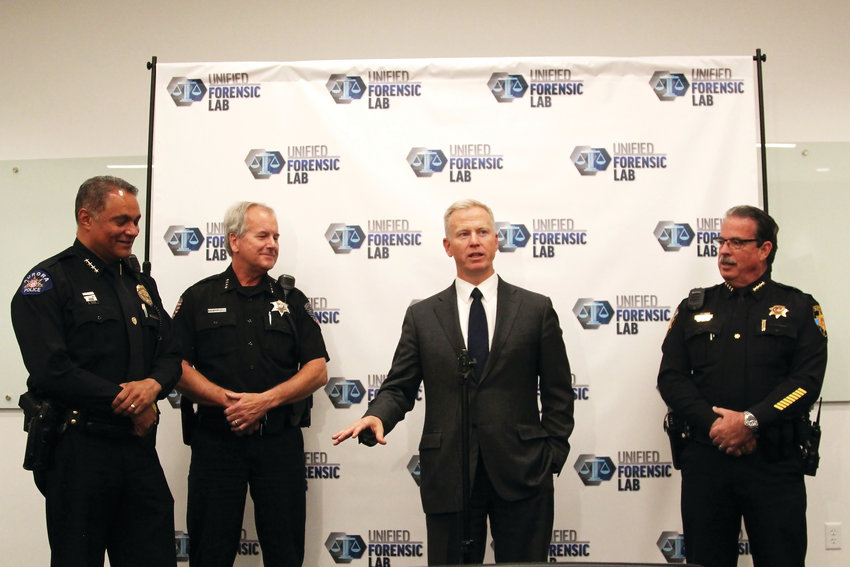 18th Judicial District Attorney George Brauchler is joined by Aurora's Chief of Police, Nick Metz; Arapahoe County Sheriff, Dave Walcher; and Douglas County Sheriff Tony Spurlock for a media day at the new Unified Metropolitan Forensic Crime Laboratory.