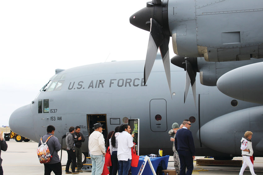 Attendees at Aviation Day got a chance to tour a C130 plane from the United States Air Force.