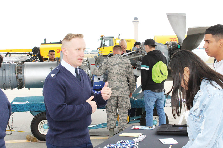 Jeremiah Carson from the Air National Guard talks to Daniel Ibarra and Eva Moreno about the life of a Air National Guard member.