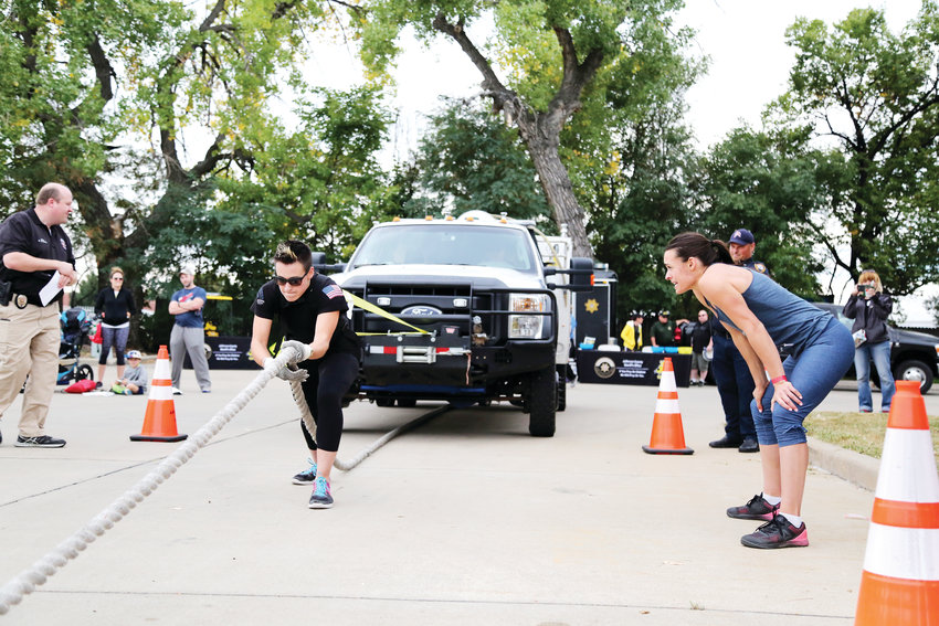 Celeste Cardosa, of Golden, participates in the individual truck pull.