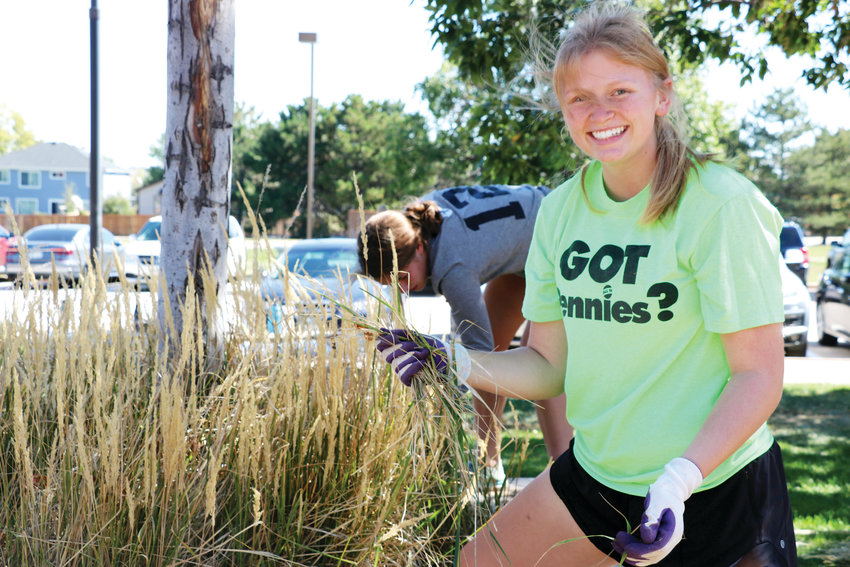 Linsday Engelbert is a junior at Highlands Ranch High School and co-president of the Sustainability Club. On Sept. 21, she and about 10 other club members prepared a patch of land in front of the school for xeriscaping, a form of landscaping that uses drought-tolerant plants.