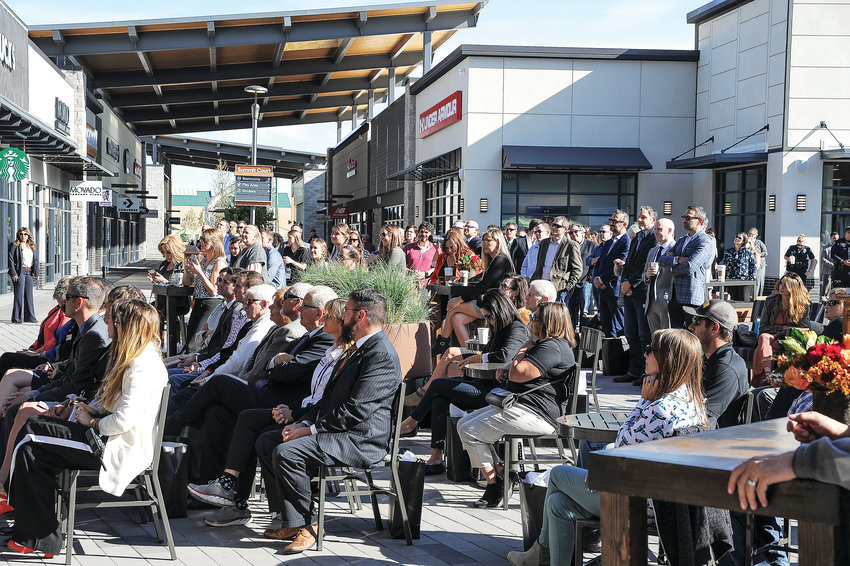 Local dignitaries comprise part of the crowd at the grand opening of Denver Premium Outlets' grand opening. The mall boasts 330,000 square feet of retail space and room for 80 retail outlet stores.