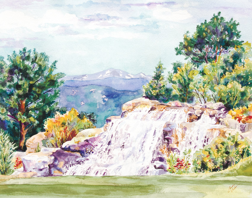 Cindy Welch painted a scene of the waterfall at Sanctuary Golf Course for an auction by Castle Rock Adventist Hospital at its benefit golf tournament.