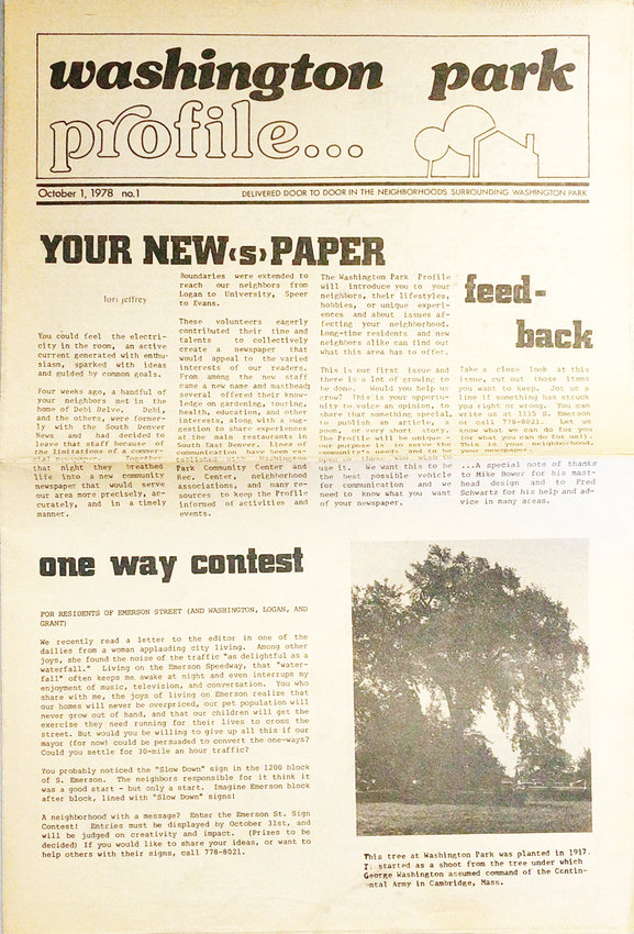 The front of the first issue of the Washington Park Profile. The issue came out in October 1978.