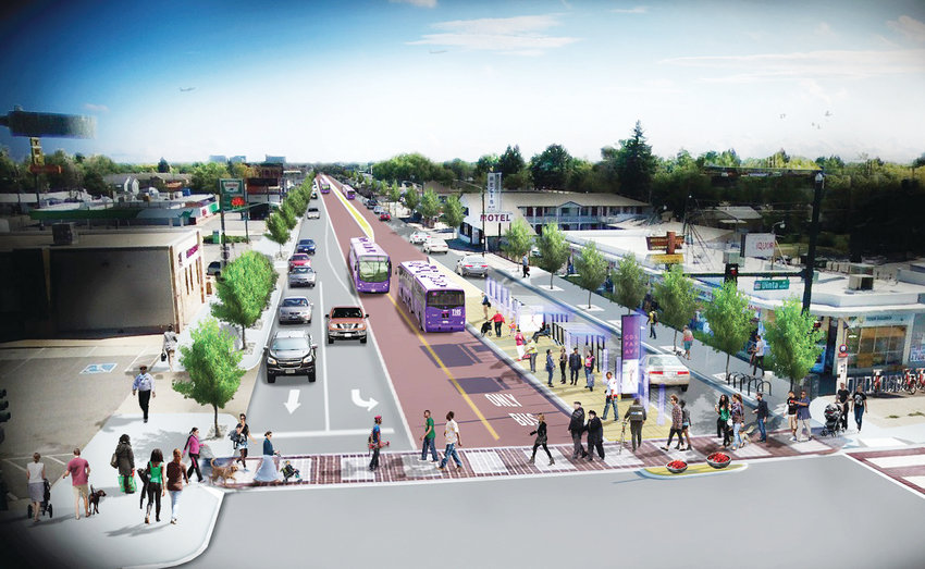 This rendering shows what designated lanes in the Center of Colfax Avenue would look like with the bus rapid-transit plan.