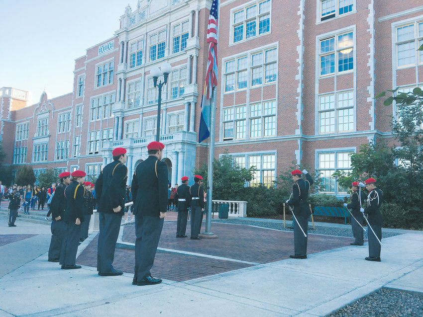 Students at the East High School JROTC program participated in a flag ceremony in observance of Sept. 11.