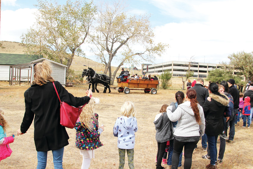 People waited in lengthy lines for hay rack rides on horse-drawn wagons at the Schweiger Ranch Fall Festival.