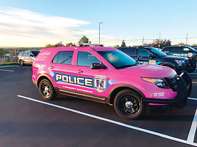 The Northglenn pink police cruiser, decorated by SpeedPro Imaging, will serve as a general-purpose police vehicle.
