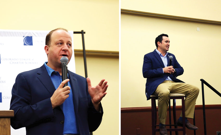 Colorado gubernatorial candidates Jared Polis, left, and Walker Stapleton both spoke a tthe Sept. 24 event.