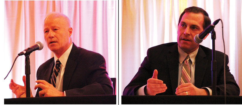 CD6 incumbent Rep. Mike Coffman, left, and challenger Jason Crow, right.