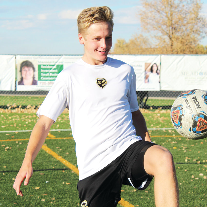 Kagan Giltinan, a senior forward for the Rock Canyon High School soccer team, is second in the Continental League in goals scored (9) this season.