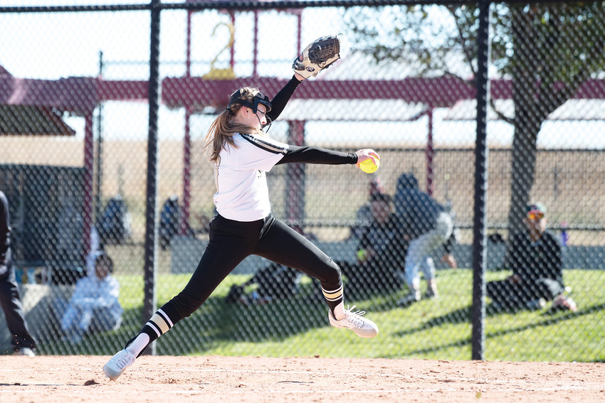 Rock Canyon's Audrey Burt winds up for a pitch as the Jaguars knocked out Smoky Hill 3-2 in early round action of the 5A State Softball Finals on Oct. 19 at Aurora Sports Park.
