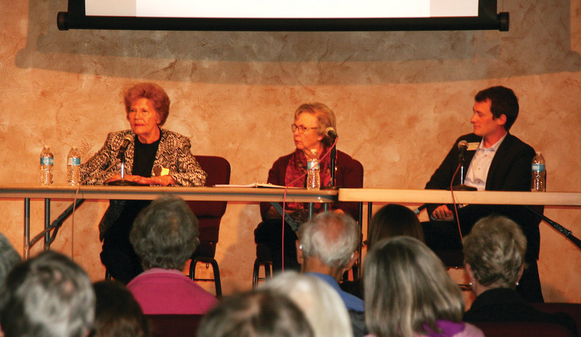 Candidates for Jefferson County's clerk and recorder, incumbent Faye Griffin, on the far left, and George Stern, on the far right participate in a Q&A forum on Oct. 16. The two candidates are separated by Margie Beal with the Jeffco League of Women Voters who moderated the event.