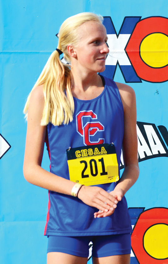Cherry Creek freshman Riley Stewart was fifth in the Class 5A girls race at the CHSAA Cross Country Championships on Oct. 27.