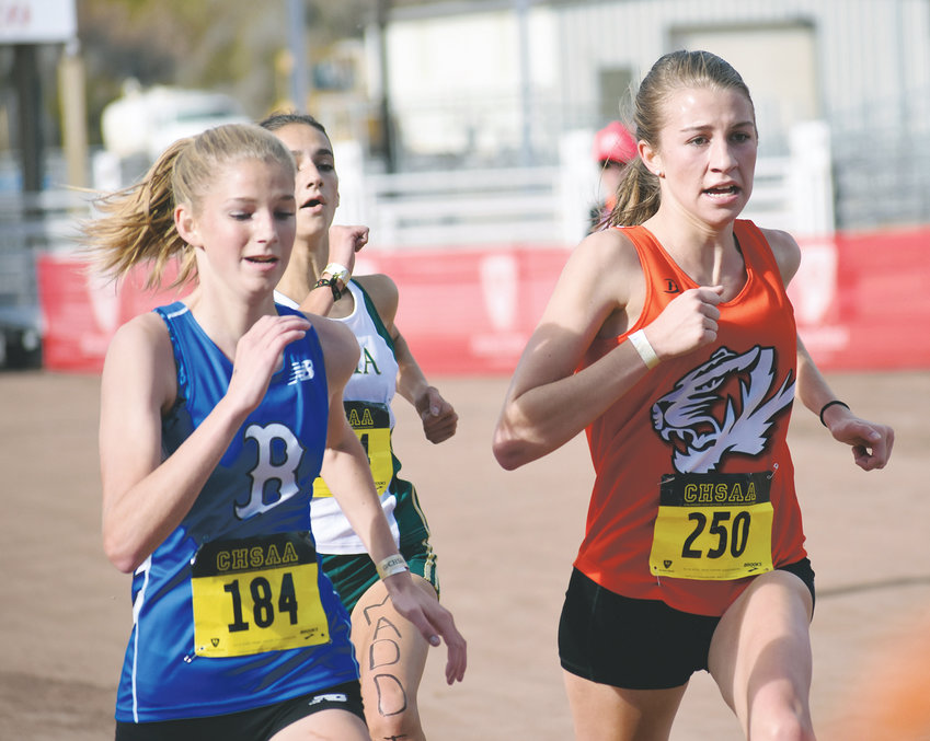 Lakewood senior Carley Bennett (250) gives it all she has during the final few yards of the Class 5A girls race at the state championships Oct. 27 in Colorado Springs. Bennett finished on the podium in 9th place with a time of 18:50.3.