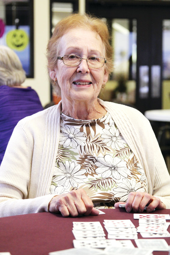 "Janet Robinson said she comes to the Castle Rock Senior Activity Center two to three times a week to play cards. ""We have lots of fun,"" she said. ""We laugh. We're all friends."""