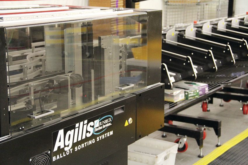 The Agilis ballot-sorting machine sits Nov. 1 at the Arapahoe County Elections Facility at 5251 S. Federal Blvd. in Littleton. In addition to sorting by hand, ballots go twice through the machine, which helps verify voters' signatures.