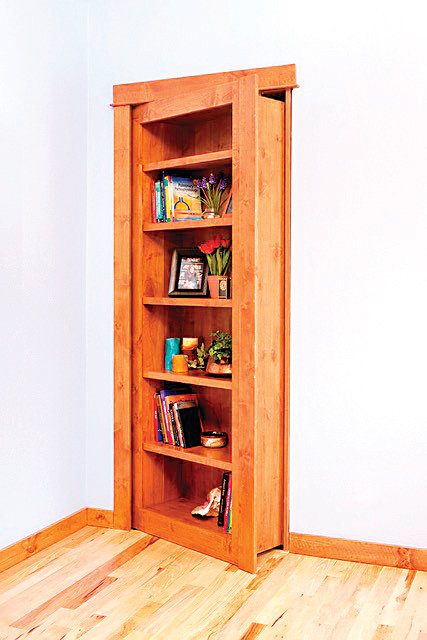 A seemingly built-in book case hides a secret room. Broomfield-based Hidden Doors sells, designs and installs the systems for people that need to hide valuables, private rooms, safes and other things.