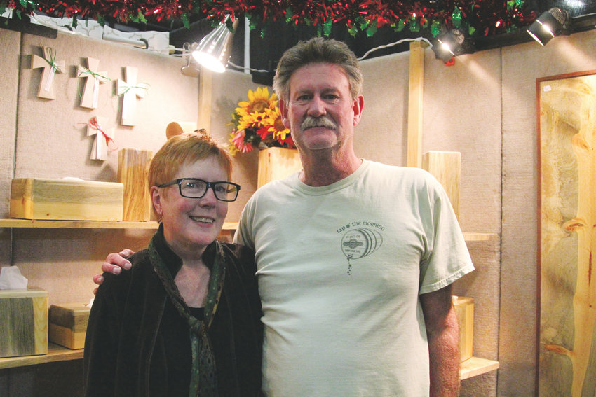 Mary Waters and Randy Blunt attended the Castle Rock craft show for their first time selling Pine Beetle Furniture and woodworking art. The vendors are based in Black Hawk.