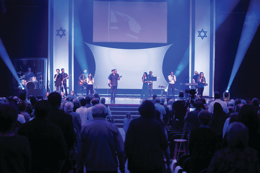 "A scene from the 40th annual ""A Night to Honor Israel"" at the Faith Bible Chapel in Arvada. Performers on stage included international singers and dancers, including two students from Jewish Colorado's Teen Israel Emissaries and a children's choir of children from Faith Bible Chapel."