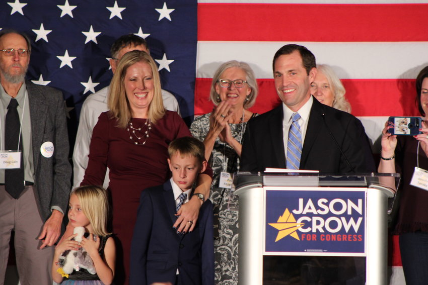 Democrat Jason Crow gives his acceptance speech during the Arapahoe County Democratic watch party on Nov. 6. Crow won the seat for 6th Congressional District with 53 percent of the vote, unseating incumbent Republican Mike Coffman.