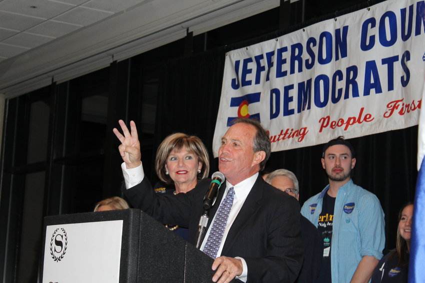 Rep. Ed Perlmutter greets the crowd at the  at the 2018 Jeffco Dems Election Night Celebration on Nov. 6at the Sheraton Denver West Hotel in Lakewood.