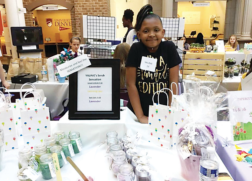 Yaunie Williams, 11, sells skincare products at popup marketplace events. Williams was nine years old when she started her business, Yaunie's Scrub Sensation.