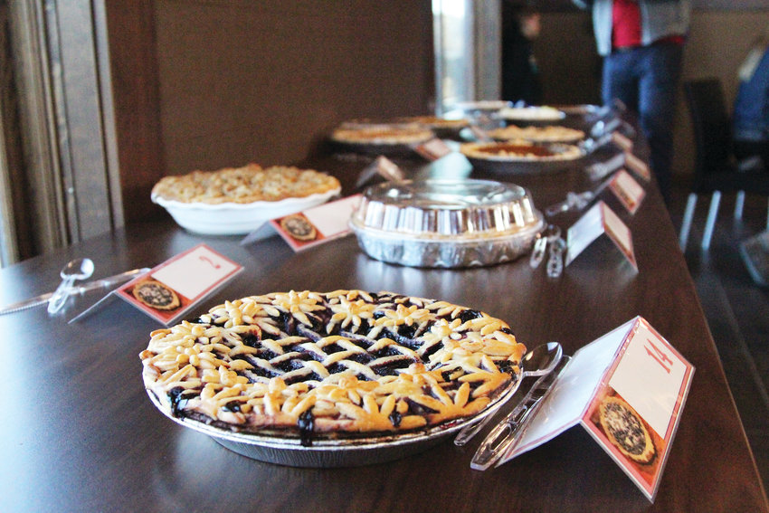 At this year's contest, bakers entered 16 pies for judges to taste and assess.